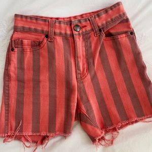 Pink striped denim shorts